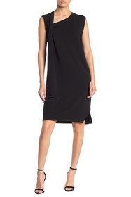 T Tahari French Terry Asymmetrical Neck Shift Dres