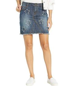Stetson Denim Skirt with Star Appliques