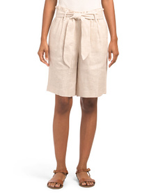 TAHARI BY ASL Tie Front Linen Shorts