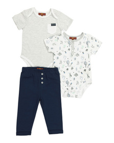 7 FOR ALL MANKIND Baby Boy 3pc Cactus Bodysuit Set
