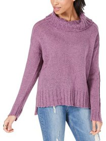 Hooked Up by IOT Womens Juniors Hi-Low Ribbed Turt