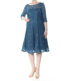 SLNY Womens Teal Sequined Lace Pleated Floral 3/4