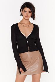 Nasty Gal Black Right Sheer Waiting Button-Down Ca