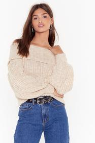 Nasty Gal Oatmeal Knit's a Winner Off-the-Shoulder