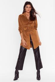 Nasty Gal Camel Want the Belt for You Corduroy Lon