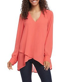 Karen Kane Relaxed-Fit High-Low Crossover Blouse C