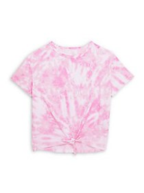 Just Kidding Girl's Tie-Dye Knotted Tee NEON ROSE
