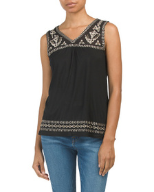 FORGOTTEN GRACE Sleeveless Embroidered Top