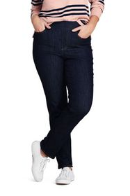 Lands End Women's Plus Size Mid Rise Pull-on Strai