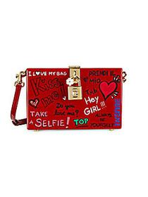 Dolce & Gabbana Graffiti Lock Box Crossbody RED