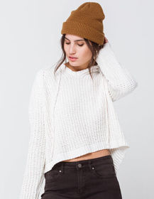RSQ Chenille Hooded Split Back Ivory Womens Sweate
