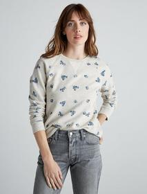 Lucky Brand Allover Embroidered Flower Sweatshirt