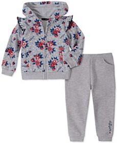 Toddler Girls 2-Pc. Floral-Print Fleece Hoodie & J