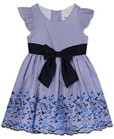 Toddler Girls Embroidered Bow Dress