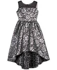 Big Girls Floral Brocade High-Low Dress