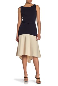 Vanity Room Colorblock Fit & Flare High/Low Dress