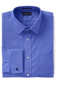 Lands End Men's Long Sleeve Straight Collar Pinpoi