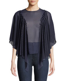 See by Chloe Sheer Polka Dot Cape-Sleeve Blouse