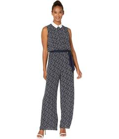 CeCe Sleeveless Collard Lace Floral Jumpsuit