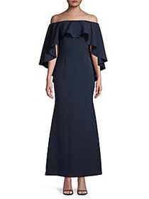 Vince Camuto Ruffled Off-The-Shoulder Gown NAVY
