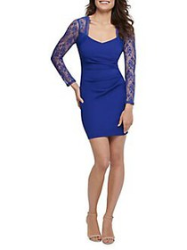 Guess Lace-Sleeve Bodycon Dress COBALT
