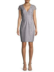 Vince Camuto Embroidered Lace Sheath Dress GREY