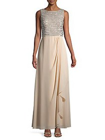 Vince Camuto Sequined Sleeveless Gown CHAMPAGNE