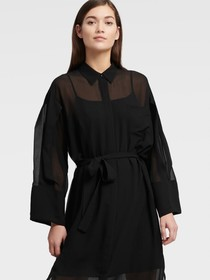 Donna Karan BUTTON UP DRESS WITH CINCHED ELBOW