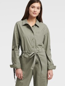 Donna Karan BELTED JUMPSUIT WITH LOGO ROLL TAB SLE