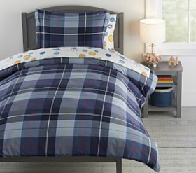 Pottery Barn Organic Garrett Plaid Duvet Cover
