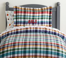 Pottery Barn Organic Arlo Plaid Duvet Cover