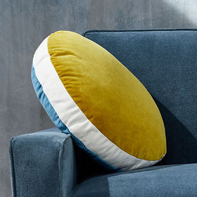 Crate Barrel Round Velvet Teal/Saffron Pillow with