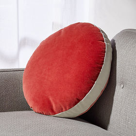 Crate Barrel Round Velvet Red/Coral Pillow with Fe