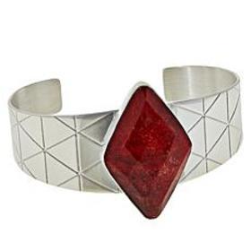 Jay King Sterling Silver Diamond-Shaped Red Coral