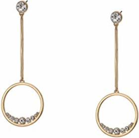 GUESS Circle Linear Drop Earrings with Floating St