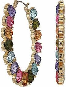 GUESS Multicolored Stone Front Facing Hoop Earring