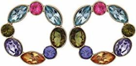 GUESS Multicolored Stone Circle Drop Earrings