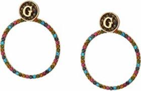 GUESS Multicolored Stone Log Doorknocker Earrings
