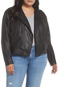 Caslon Hooded Leather Jacket with Removable Hood (
