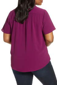 Vince Camuto Notch Collar Wrap Front Short Sleeve
