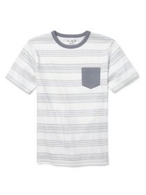 The Children's Place Short Sleeve Striped Pocket T