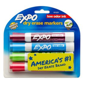 Expo Low-Odor Dry-Erase Marker Set, Chisel Tips, F