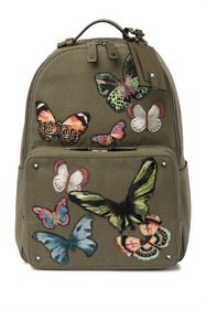 Valentino Leather Trimmed Embroidered Butterfly Ba