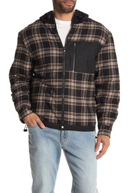 HUDSON Jeans Quilted Flannel Hooded Shirt Jacket