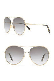 Victoria Beckham 63mm Round Aviator Sunglasses