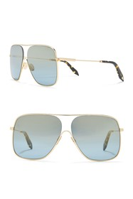 Victoria Beckham 61mm Flat Aviator Sunglasses