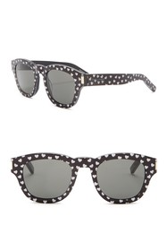 Saint Laurent 49mm Glitter Hearts Square Sunglasse