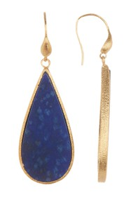 Rivka Friedman Elongated Teardrop Lapis Slice Earr