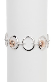 BREUNING Two-Tone Sterling Silver Round Link Brace