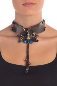 Valentino Twisted Metal & Leather Skull Tie Choker